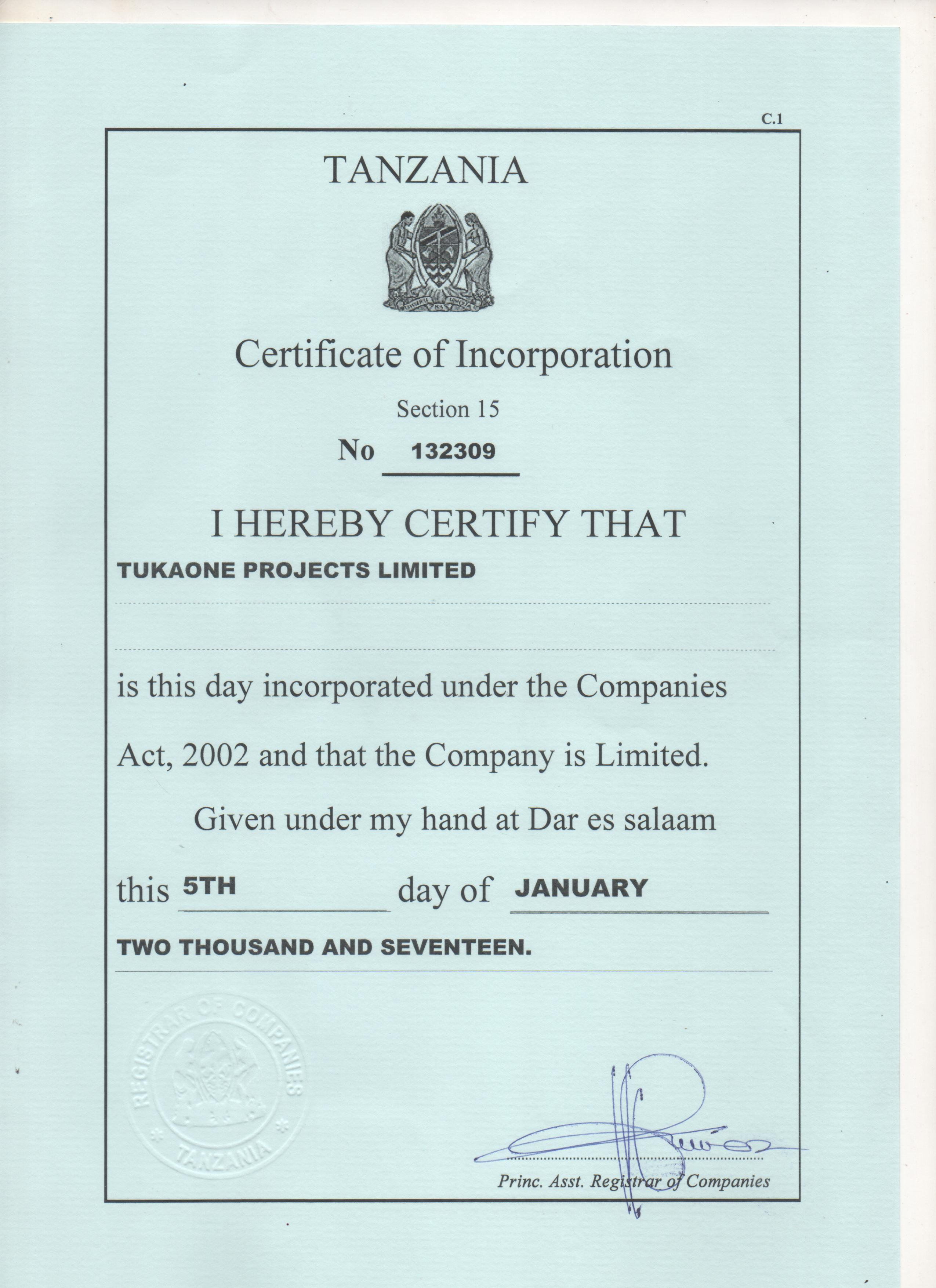 Tukaone projects granted certificate of incorporation walk articles of association and registration certificate from brella a registering body in tanzania have been prepared submitted and approved xflitez Images